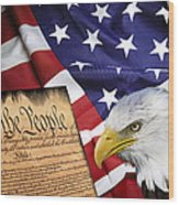 Flag Constitution Eagle Wood Print by Daniel Hagerman