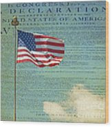 Flag - Declaration Of Independence -  Luther Fine Art Wood Print by Luther Fine Art