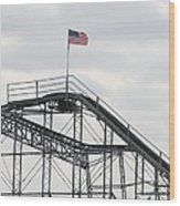 Flag Mounted On Seaside Heights Roller Coaster Wood Print