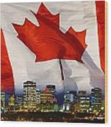 Flag Of Canada Over Albertas Capital Wood Print