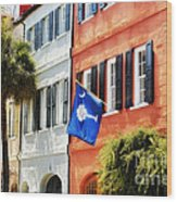 Flag Of Charleston With Palmetto And Crescent Moon Wood Print