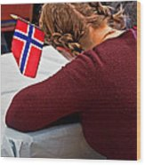Flag Of Norway In Girls' Braided Hair Art Prints Wood Print