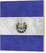 Flag Of Salvador Wood Print