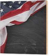 Flag On Blackboard Wood Print by Les Cunliffe