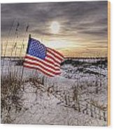 Flag On The Beach Wood Print by Michael Thomas