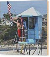Flag Waving Lifeguard Wood Print