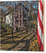 Flags And Covered Bridge Wood Print