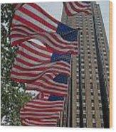 Flags At Rokefeller Plaza Wood Print