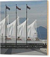 Flags At The Sails  Wood Print