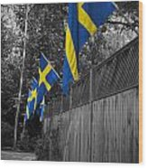 Flags Of Sweden Wood Print