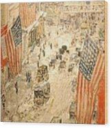 Flags On 57th Street Wood Print