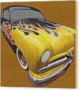 Flame Car Wood Print