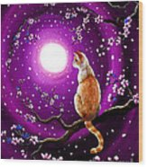 Flame Point Siamese Cat In Dancing Cherry Blossoms Wood Print