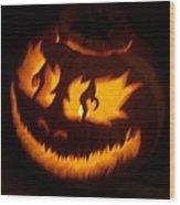 Flame Pumpkin Side Wood Print