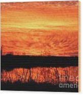 Flamed Sunset Wood Print