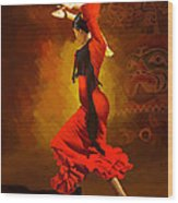 Flamenco Dancer 0013 Wood Print