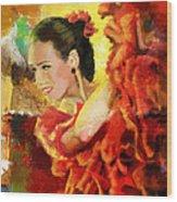 Flamenco Dancer 027 Wood Print by Catf