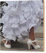 Flamenco Dancer In White Wood Print