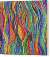 Flames Dancing Wood Print