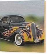 Flames On Wheels Wood Print