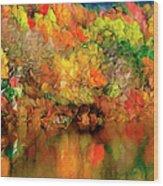 Flaming Autumn Abstract Wood Print