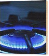 Flaming Blue Gas Stove Burner Wood Print