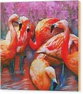 Flaming Flamingos Wood Print