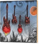 Flaming Guitars Wood Print