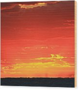 Flaming Ocean Wood Print