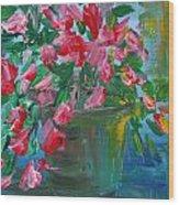 Flaming Pink Flowers Wood Print