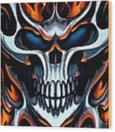 Flaming Skull Wood Print