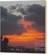Flaming Sunrise Wood Print