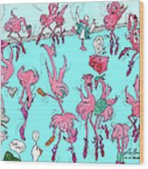 Flamingo A Go Go Wood Print