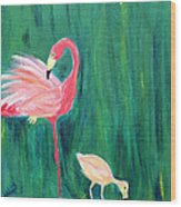 Flamingo And Chick Wood Print