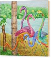 Flamingo Dingos Wood Print