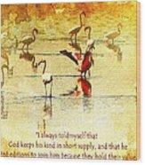Flamingo In Yellow Wood Print