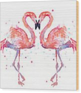 Flamingo Love Watercolor Wood Print