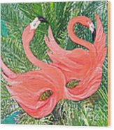 Flamingo Mask 1 Wood Print