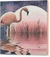 Flamingo Moon Wood Print