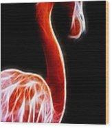 Flamingo On Black Fractal Wood Print