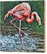 Flamingo Splash Two Wood Print
