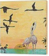 Flamingo Sunset Silhouette Cathy Peek Tropical Birds  Wood Print