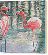 Flamingo Time Wood Print