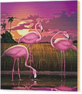 Flamingoes Flamingos Tropical Sunset Landscape Florida Everglades Large Hot Pink Purple Print Wood Print