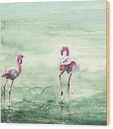Flamingos In Camargue 02 Wood Print