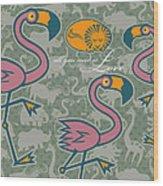 Flamingos Love Wood Print