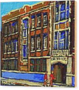 Flashback To Sixties Montreal Memories Baron Byng High School Vintage Landmark St. Urbain City Scene Wood Print by Carole Spandau