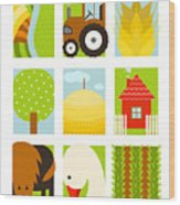 Flat Childish Rectangular Agriculture Wood Print