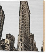 Flat Iron Building In Sepia Wood Print