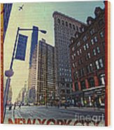 Flat Iron Building Poster Wood Print by Nishanth Gopinathan